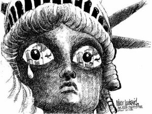 Drawing by MIKE LUCKOVICH of the Statue of Liberty weeping.